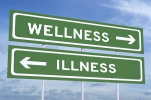 wellness or illness concept on the road signpost